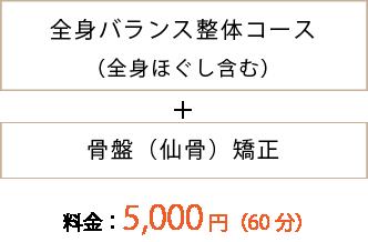 全身バランス整体コース(全身ほぐし含む) +骨盤(仙骨)矯正 料金:5,000円(60分)